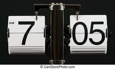 Classic flip clock timelapse, black background