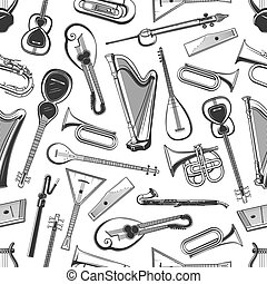 Music instruments vector seamless pattern background. Classic orchestra, jazz and folk musical instruments, mandolin and harp, sitar or zither and lute, balalaika and flute, banjo and cello pattern