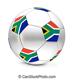 classic football/soccer ball consisting of silver metallic hexagons and pentagons with the flag of South Africa