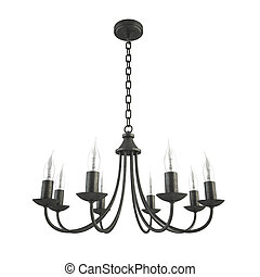 Classic forged black chandelier isolated on white background