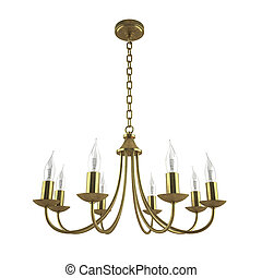 Classic forged gold chandelier isolated on white background