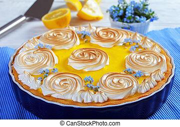 Classic french lemon tart with custard filling - Classic...