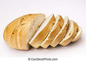 classic French loaf of bread, sliced??, isolated on white