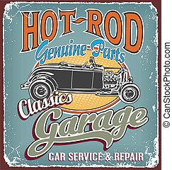 Classic garage crack - hot rod vector for T-shirt printed...
