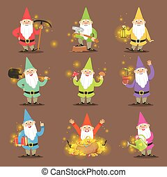Classic Garden Gnomes In Colorful Outfits Set Of Cartoon Characters Different Situations