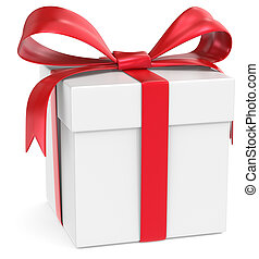 Gift Box. - Classic Gift Box. White with red ribbons.