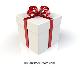 Gift Box - Classic Gift Box with Red Ribbon. Reflective...