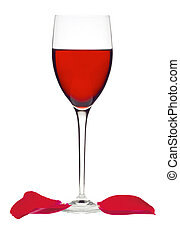 Classic Glass of Red Wine and rose petals isolated on a white background