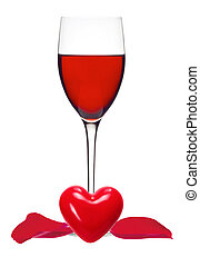 Classic Glass of Red Wine, heart and rose petals isolated on a white background