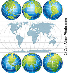 Classic Globes with World Map, vector clip art