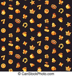 Classic gold slot machine symbol seamless pattern. Casino flat icons background