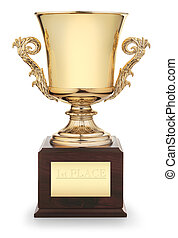 "Classic gold trophy cup on wood pedestal with engraved inscription ""1st Place"" isolated on white background with clipping path"