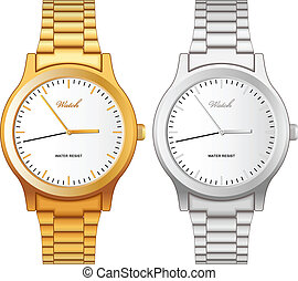 Classic golden and steel wristwatch - Vector illustration of...
