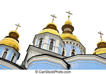 classic golden roofs and blue walls at Saint Michael...
