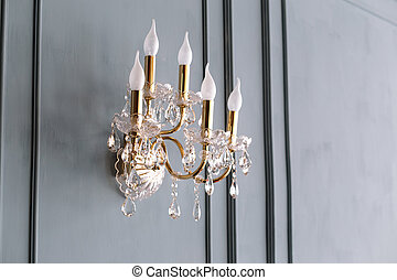 classic golden wall lamp with beads