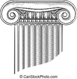 Classic Greek Roman Column Ionic Pillar Woodcut