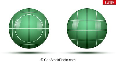 Classic Green Bocce Balls. Park and outside game. Vector...