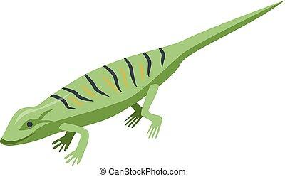 Classic green lizard icon, isometric style