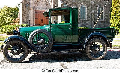 Classic Green Pickup Truck by Church