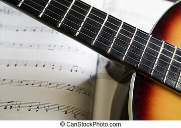 Classic guitar and music chords - Classic guitar on top ...