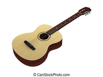 classic guitar - one 3d render of a classic guitar