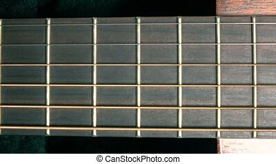 Classic guitar fret 4K macro dolly shot - Classic guitar...