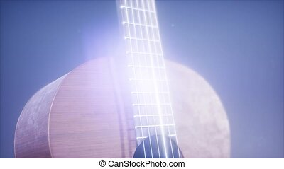classic guitar on blue background