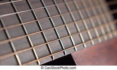 Classic guitar parts 4K macro dolly shot - Classic guitar...
