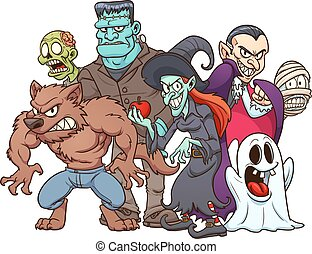 Halloween monsters - Classic Halloween monsters. Vector clip...
