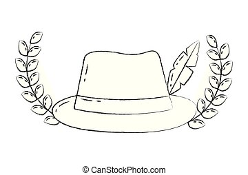 classic hat fedora feather emblem fashion