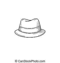 Classic hat hand drawn sketch icon.