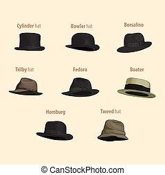 d98aea73f7a06 Orange bowler hat Vector Illustrationby dvarg1 88 Classic hats set on light  background