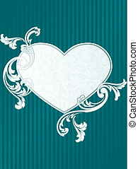 Classic heart shaped French retro banner in green