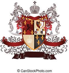 Classic heraldic design with coat