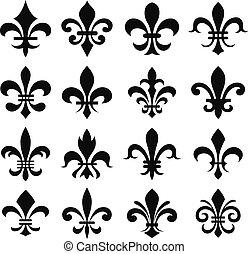 classic heraldic fleur de lys symbol set