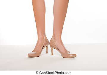 Classic high heeled court shoes - Cropped view image of...