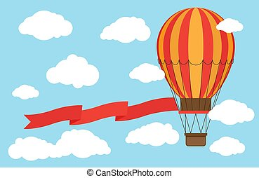 Classic hot air balloon with red ribbon flying from sky and clouds