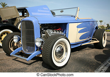 Classic hot rod at show - Classic hot rod at a show in...