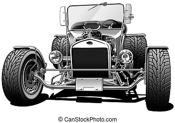 Classic Hot Rod - Black line and Airbrush Illustration
