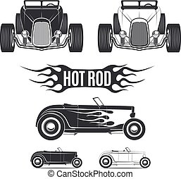 Classic hot rod isolated on white backgeound