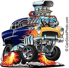 Awesome old school 1955 style hotrod, popping a wheelie, huge chrome engine, classic flames custom paint, American muscle car cartoon vector illustration