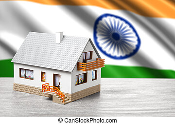 classic house against Indian flag background