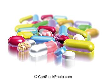 pills - classic illustration, pills