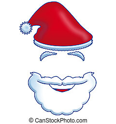 classic illustration, Santa Claus beard and hat on white background