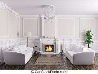 Classic interior of living room with sofas and fireplace 3d render