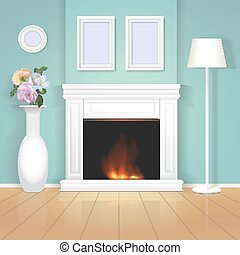 Classic interior wall with fireplace. Vector realistic illustration.