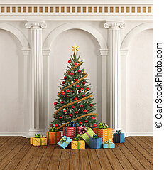 Classic interior with christmas-tree and ionic column
