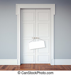 Classic interior with doors and an signboard on the handles. 3d rendering