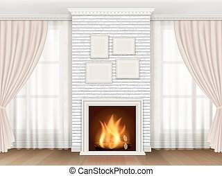 Classic interior with fireplace and windows curtains