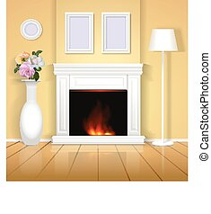 Classic interior with fireplace illustration. Realistic home design